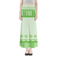 Floral Stripes Card In Green Maxi Skirts