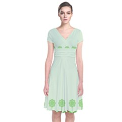 Floral Stripes Card In Green Short Sleeve Front Wrap Dress