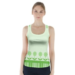 Floral Stripes Card In Green Racer Back Sports Top