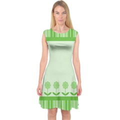 Floral Stripes Card In Green Capsleeve Midi Dress