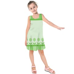 Floral Stripes Card In Green Kids  Sleeveless Dress