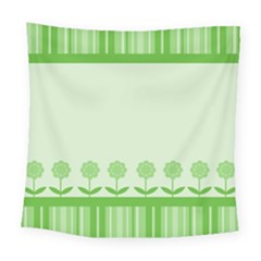 Floral Stripes Card In Green Square Tapestry (large)
