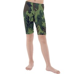 Military Camouflage Pattern Kids  Mid Length Swim Shorts