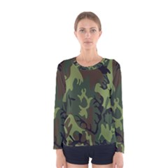 Military Camouflage Pattern Women s Long Sleeve Tee