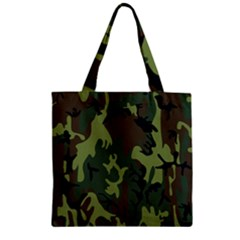 Military Camouflage Pattern Zipper Grocery Tote Bag