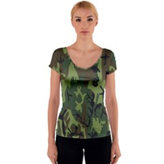 Military Camouflage Pattern Women s V-Neck Cap Sleeve Top