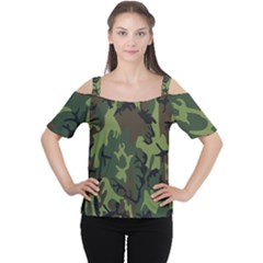 Military Camouflage Pattern Women s Cutout Shoulder Tee