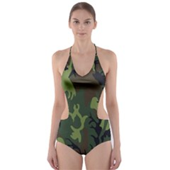 Military Camouflage Pattern Cut Out One Piece Swimsuit