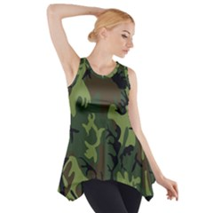 Military Camouflage Pattern Side Drop Tank Tunic