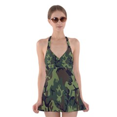 Military Camouflage Pattern Halter Swimsuit Dress