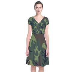 Military Camouflage Pattern Short Sleeve Front Wrap Dress