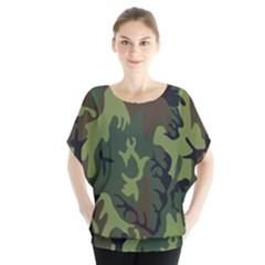 Military Camouflage Pattern Blouse