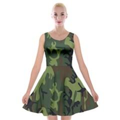 Military Camouflage Pattern Velvet Skater Dress