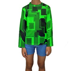 Green Cyber Glow Pattern Kids  Long Sleeve Swimwear