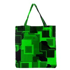 Green Cyber Glow Pattern Grocery Tote Bag