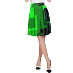 Green Cyber Glow Pattern A-Line Skirt