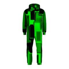 Green Cyber Glow Pattern Hooded Jumpsuit (Kids)