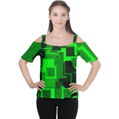 Green Cyber Glow Pattern Women s Cutout Shoulder Tee