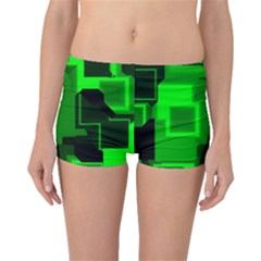 Green Cyber Glow Pattern Boyleg Bikini Bottoms