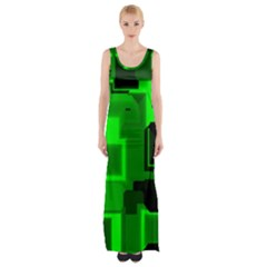 Green Cyber Glow Pattern Maxi Thigh Split Dress