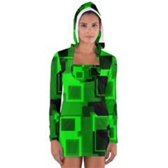Green Cyber Glow Pattern Women s Long Sleeve Hooded T-shirt