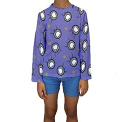Rockets In The Blue Sky Surrounded Kids  Long Sleeve Swimwear