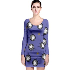 Rockets In The Blue Sky Surrounded Long Sleeve Bodycon Dress