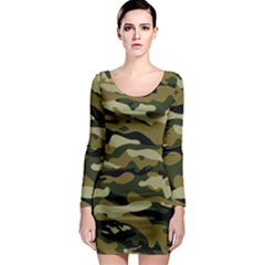 Military Vector Pattern Texture Long Sleeve Bodycon Dress