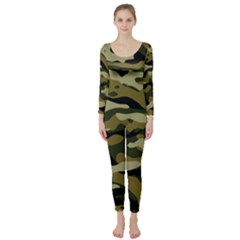 Military Vector Pattern Texture Long Sleeve Catsuit