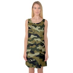 Military Vector Pattern Texture Sleeveless Satin Nightdress