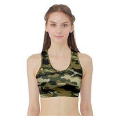 Military Vector Pattern Texture Sports Bra with Border
