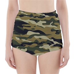 Military Vector Pattern Texture High-Waisted Bikini Bottoms