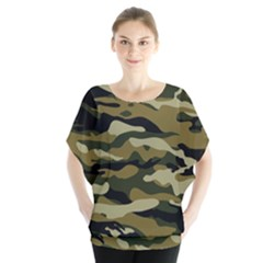 Military Vector Pattern Texture Blouse
