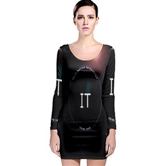 This Is An It Logo Long Sleeve Bodycon Dress