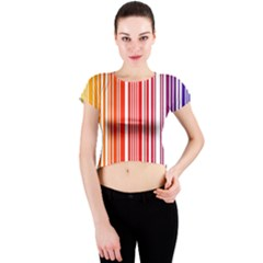 Colorful Gradient Barcode Crew Neck Crop Top