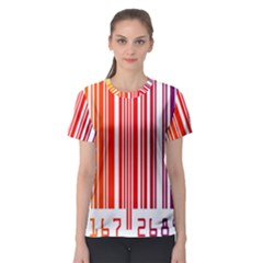 Colorful Gradient Barcode Women s Sport Mesh Tee