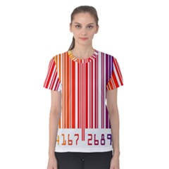 Colorful Gradient Barcode Women s Cotton Tee