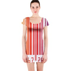 Colorful Gradient Barcode Short Sleeve Bodycon Dress