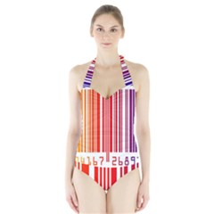Colorful Gradient Barcode Halter Swimsuit