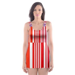 Colorful Gradient Barcode Skater Dress Swimsuit