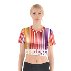 Colorful Gradient Barcode Cotton Crop Top