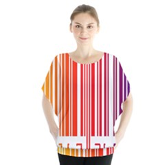 Colorful Gradient Barcode Blouse