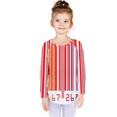 Colorful Gradient Barcode Kids  Long Sleeve Tee