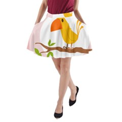 Yellow Bird Tweet A-Line Pocket Skirt