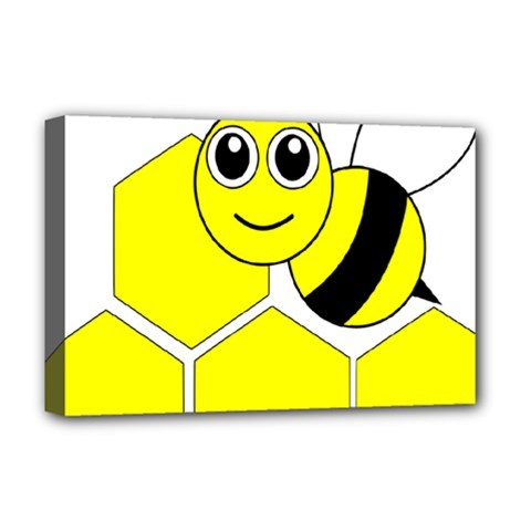 Bee Wasp Yellow Deluxe Canvas 18  X 12