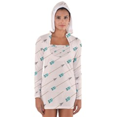Arrow Quilt Women s Long Sleeve Hooded T Shirt