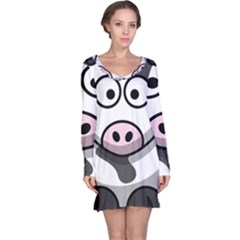 Animals Cow  Face Cute Long Sleeve Nightdress
