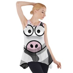 Animals Cow  Face Cute Side Drop Tank Tunic