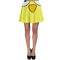 Bird Big Eyes Yellow Green Skater Skirt