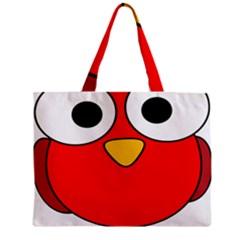 Bird Big Eyes Red Zipper Mini Tote Bag